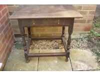 Antique Small Wood Side Table with Drawer for upcycling