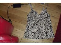 NEW WITH TAGS SIZE 32C LEOPARD PRINT TANKINI TOP COST £10