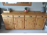 Large 4 door 4 drawer sideboard pine unit, solid wood.