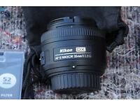 nikon 35mm F1.8G lens for sale imaculate used ounce £120 ONO