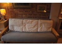 3 x flat Futon Company cushions for 3 seater - white