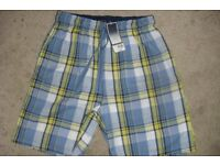 "NEW WITH TAGS ""BHS"" MEN'S/BOYS LOUNGE SHORTS IN BLUE CHECK"