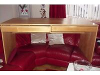"""LARGE IKEA DESK BEECH EFFECT WITH 2 DRAWERS UNDERNEATH DESK TOP LENGTH 63"""""""
