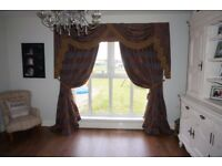 Curtains swags & tails thick lined thermal with tiebacks dining living room furniture bronze