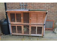 RABBIT HUTCH, RUN AND VARIOUS ACCESSORIES.