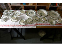 Clovelly pattern 1960's part dinner, tea, coffee china set. 60 pieces.