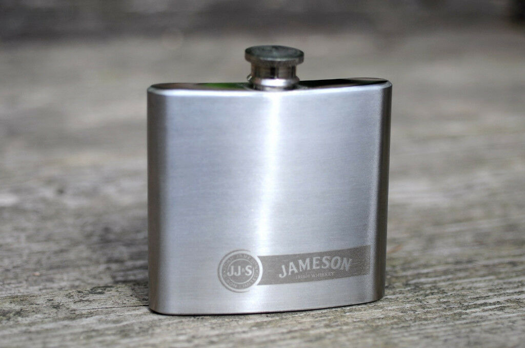 JAMESON IRISH WHISKEY PROMOTIONAL HIP FLASK STAINLESS STEEL 5oz Good Condition