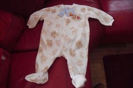 NEW WITH TAGS DISNEY WINNIE POOH PRINT ALL IN ONE SUIT AGE UP TO 12 MONTHS