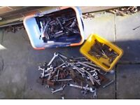 Assorted spanners, sockets, bars, adjustables etc.