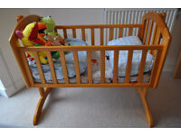Obaby Sophie Swinging Crib - Country Pine with mattress