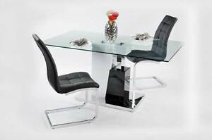 Modern Glass Dining Table 160x90cm with 6 PU Leather Chairs Thomastown Whittlesea Area Preview