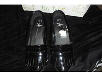 BRAND NEW SIZE 4 PAIR BLACK PATENT FLAT SLIP ON SHOES NEVER BEEN WORN