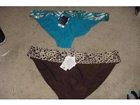 SIZE 20 NEW 2 PAIRS BIKINI BOTTOMS IN BROWN AND BLUE
