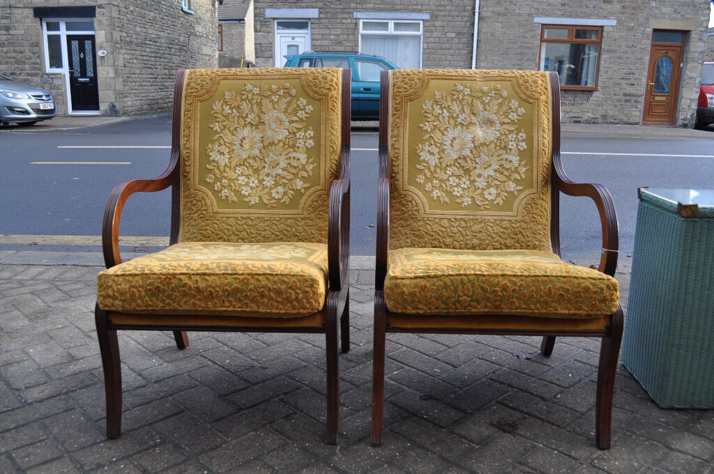 pair of regency reproduction library chairsin Bishop Auckland, County DurhamGumtree - pair of regency reproduction library chairs, armchairs, solid mahogany frame, rich gold fabric, sweeping design frame, some wear to frame, pictured, very striking, to grace any home, good clean condition, 22 inches width, 17 inches seat height, 21...