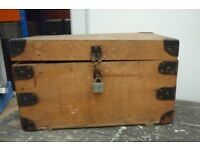 Vintage Wooden Storage Box with handles garage shed