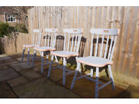 Set of four retro-contemporary, wooden, pale grey dining chairs
