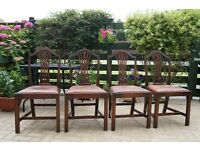Antique Set of 4 Edwardian Oak Dining Chairs