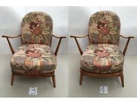 Pair of Ercol Windsor type 206 Easy Chairs - Calypso pattern
