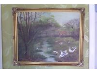 OIL PAINTING, WITH A OLD STYLE GOLD FRAME.