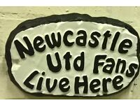Newcastle fan outdoor football plaque - handmade, brand new, ideal gift for NUFC supporters