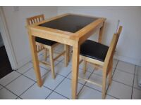 Dining Table: Kitchen/Breakfast High Table & Two Stools
