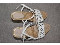 Beautiful Woman shoes size 36 UK 3 white sandals summer corks