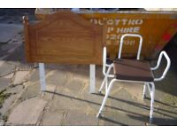 SINGLE SOLID PINE HEADBOARD AND MOBILITY SHOWER SEAT - FREE FREE
