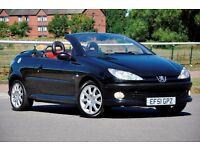 2001 Peugeot 206 CC 2.0 16v SE 2dr+CONVERTIBLE+LONG MOT+FULL LEATHER+BLACK+SERVICE HISTORY