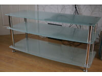 Long 3 tier glass shelf TV stand / media unit