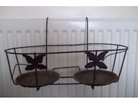 PAIR OF RUSTIC IRON OVER FENCE/BALCONY.WALL TWIN POT HOLDERS
