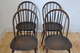 Set of 4 retro 60's style Ercol windsor chairs (model 1877) traditional finish