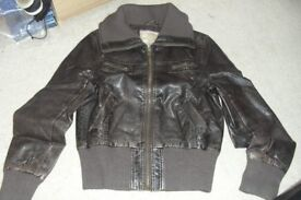 SIZE 10 CHOCOLATE BROWN LEATHER LOOK EFFECT BIKER JACKET WITH RIBBED COLLAR