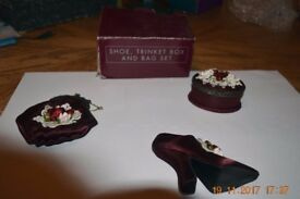"""Victorian Collection"" Burgundy shoe trinket box & shoe"