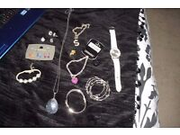 SELECTION OF COSTUME JEWELLERY WATCH, EARRINGS, BRACELET, BANGLES, NECKLACE