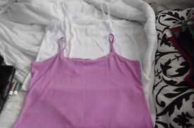 SIZE 22/24 PACK OF 2 NEW CAMISOLE TOPS IN WHITE AND DARK PINK NEVER BEEN WORN