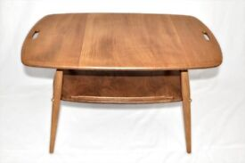 Vintage Retro 60's Ercol Butler Coffee / Side Table with Magazine Rack - As New - Fully Renovated