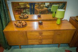 vintage retro mid century modern teak mirrored dressing table