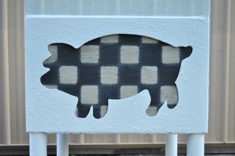 Vintage Whimsical Cow Pig Rustic Country White Painted Iron & Glass Dining Table