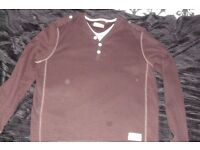 "SIZE MEDIUM ""NEXT"" MEN'S LONG SLEEVE TOP IT'S DARK BROWN"