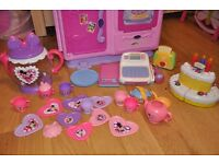 Disney Princess toy kitchen with tea set, cash register, pots, activity toster and singing cake