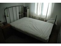 Double bed metal, overall width 145cm, length 205cm, bedhead h 120cm. Mattress size 140 x 205cm