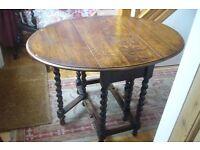 Old oak gate leg Table with barley twist legs