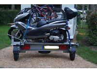 Armitage Motorbike/Scooter Trailer Good condition, New wheels and tyres, Hitchlock, tie down straps.