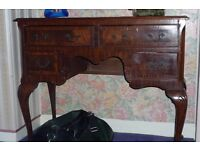 Queen Anne style walnut kneehole dressing table for sale!!