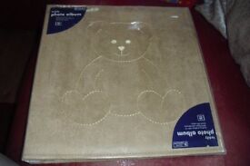 NEW LARGE BEIGE SUEDE FELL PHOTO ALBUM WITH TEDDY PICTURE ON FRONT