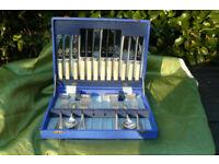 Boxed set of silver plated cutlery, vintage and in very good condition.
