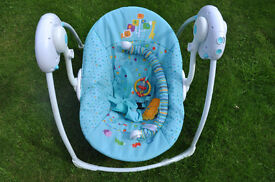 Fun on Safari Bright Starts™ Portable Swing Chair with mechanised swing action - 6 speeds and music