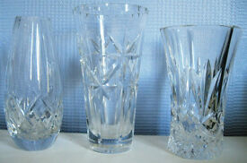 Cut Glass vases and jug, £2 - £3 each