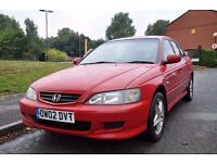 Red Honda Accord, 2002, 5 door Saloon, *Long MOT*