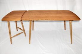 Vintage Retro 60's Ercol Windsor Plank Table and 3 Three Legged Extension / Desk - Fully Renovated